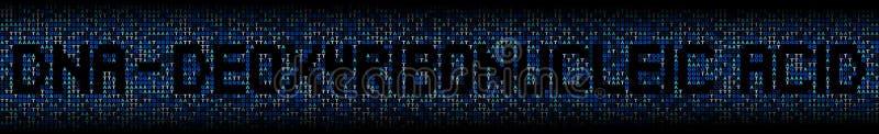Texte d'acide désoxyribonucléique sur l'illustration de fond de code génétique d'ADN illustration de vecteur