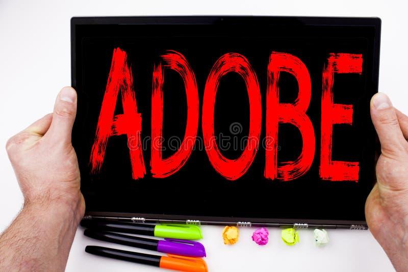 Texte d'ADOBE écrit sur le comprimé, ordinateur dans le bureau avec le marqueur, stylo, papeterie Concept d'affaires pour le peti illustration stock