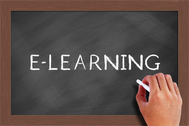 Texte d'apprentissage en ligne sur le tableau noir images stock