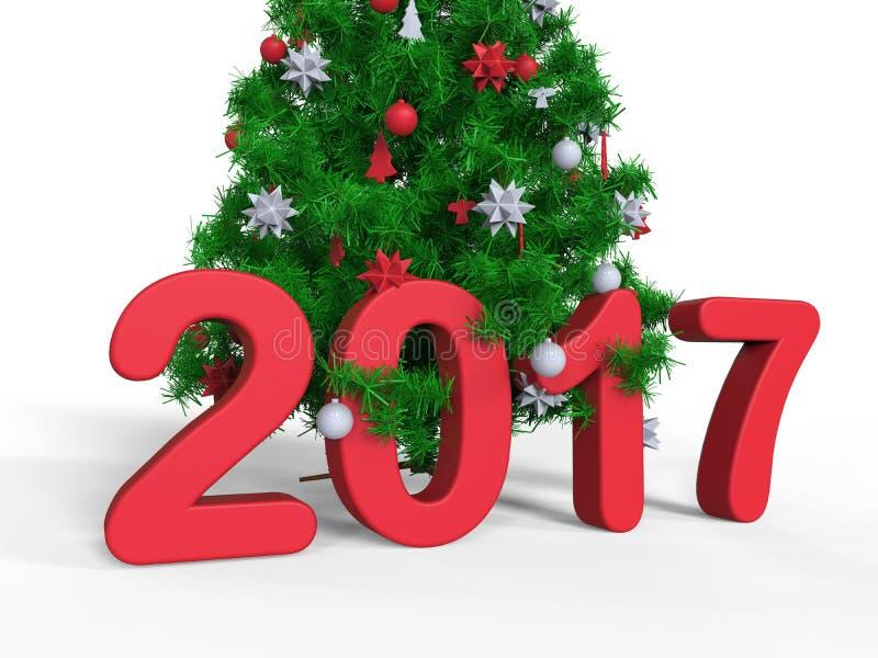 Texte 2017 d'arbre de Noël dans des branches illustration de vecteur