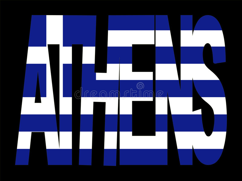 Texte d'Athènes avec l'indicateur grec illustration stock