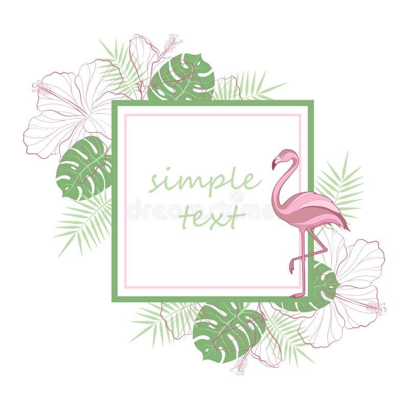 Texte d'attente des textes Palmier vert clair tropical exotique de forêt tropicale de jungle, oiseaux roses de flamant, ketmie et illustration stock