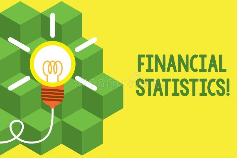 Texte d'?criture ?crivant des statistiques financi?res Ensemble complet de signification de concept d'actions et données d'écoule illustration libre de droits