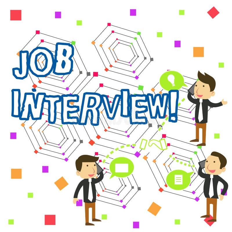 Texte d'?criture ?crivant Job Interview R?union de signification de concept dans laquelle un employeur interroge le demandeur au  illustration libre de droits