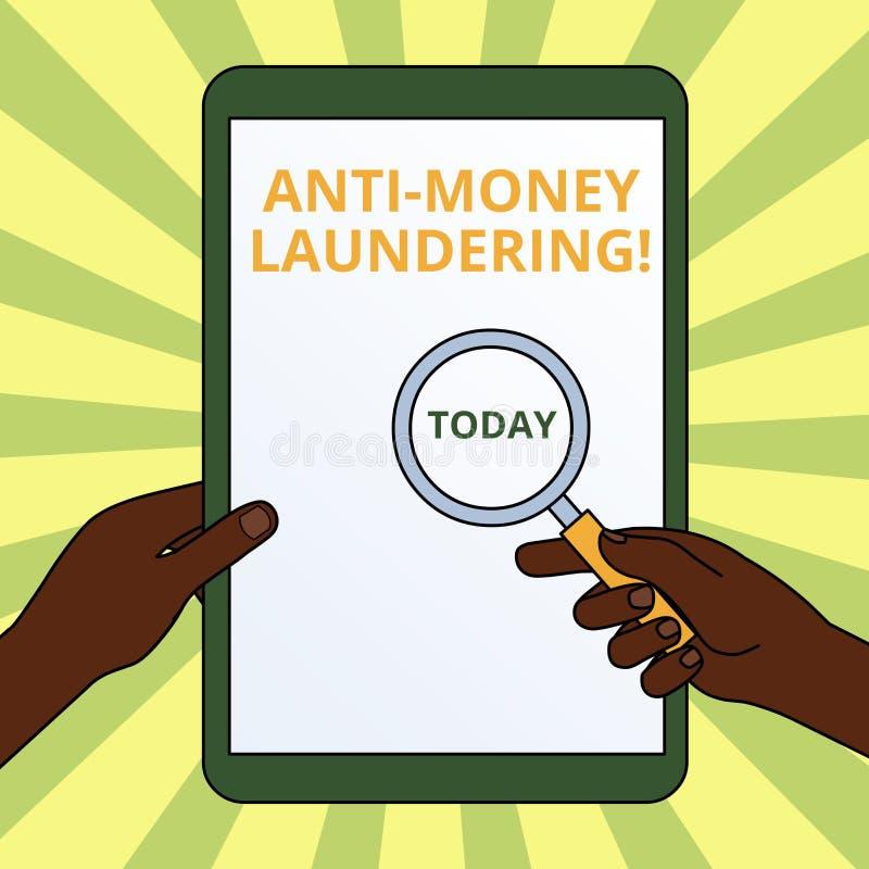 Texte d'?criture ?crivant l'anti blanchiment d'argent Arrêt de signification de concept produisant du revenu par les mains illéga illustration de vecteur
