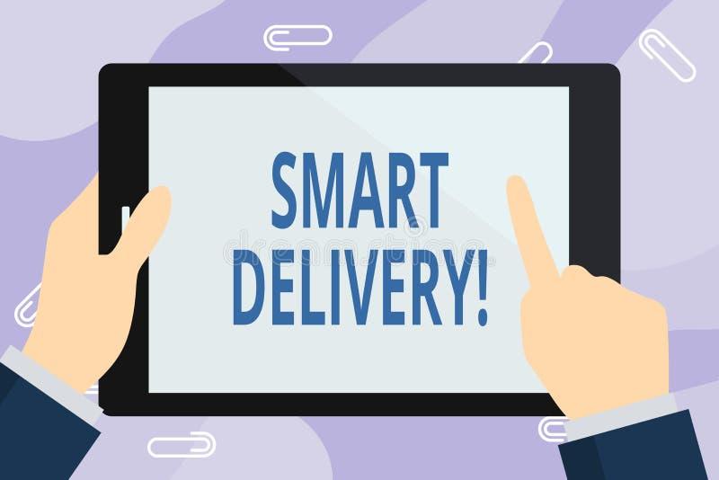 Texte d'?criture ?crivant la livraison fut?e Concept signifiant la solution mobile pour livrer et transporter des marchandises pl illustration libre de droits