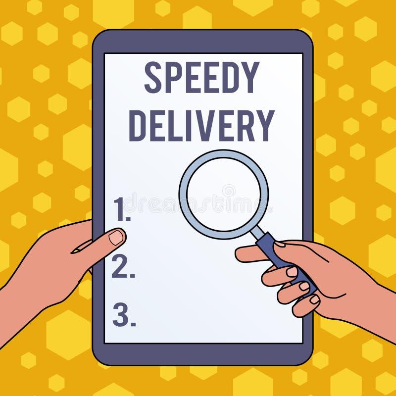 Texte d'?criture ?crivant la livraison rapide La signification de concept fournissent des produits de la mani?re rapide ou du m?m illustration stock