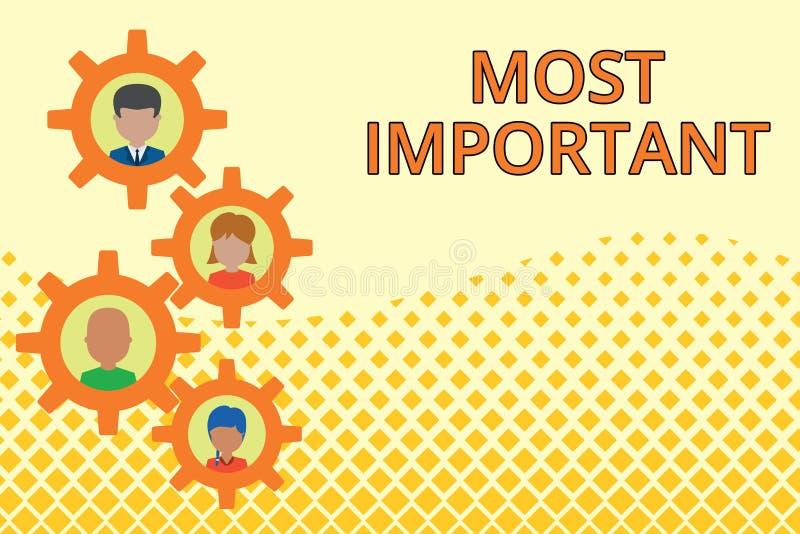 Texte d'?criture de Word le plus important Concept d'affaires pour la quantit? du plus grand ou le plus ?lev? degr? ou analogues  illustration de vecteur