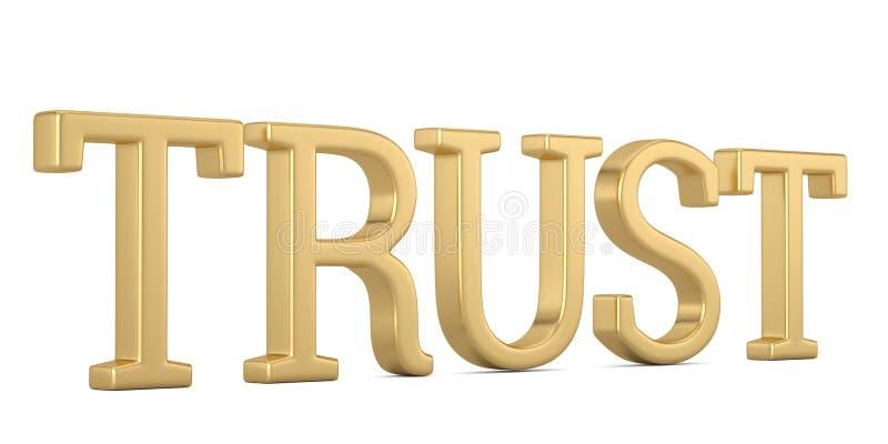 Texte d'or de confiance d'isolement sur l'illustration blanche du fond 3D illustration de vecteur