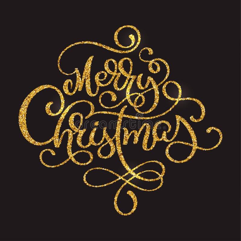 Texte d'or de vecteur de Joyeux Noël sur le fond de brun foncé Calibre calligraphique de carte de conception de lettrage créateur illustration de vecteur