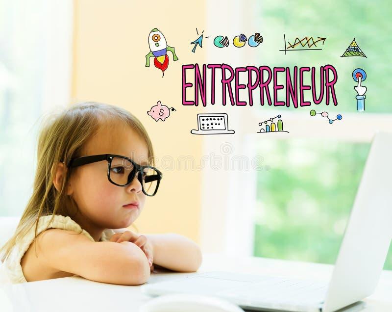Texte d'entrepreneur avec la petite fille photographie stock libre de droits