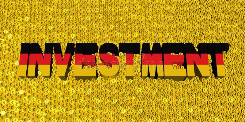 Texte d'investissement avec le drapeau allemand sur l'illustration de pièces de monnaie illustration de vecteur