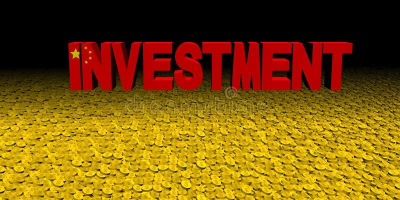 Texte d'investissement avec le drapeau chinois sur l'illustration de pièces de monnaie illustration libre de droits