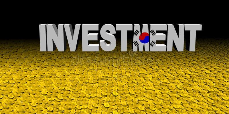Texte d'investissement avec le drapeau coréen avec l'illustration de pièces de monnaie illustration libre de droits