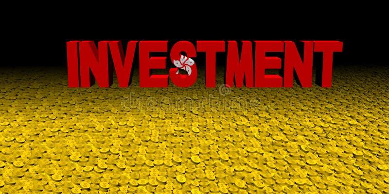 Texte d'investissement avec le drapeau de Hong Kong sur l'illustration de pièces de monnaie illustration de vecteur