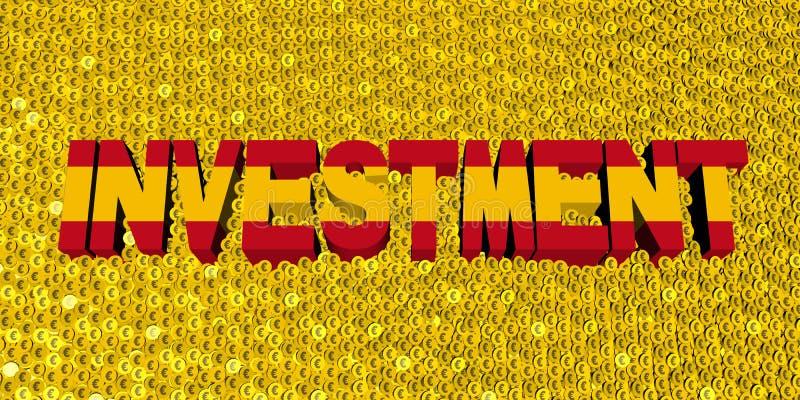 Texte d'investissement avec le drapeau espagnol sur l'illustration de pièces de monnaie illustration de vecteur