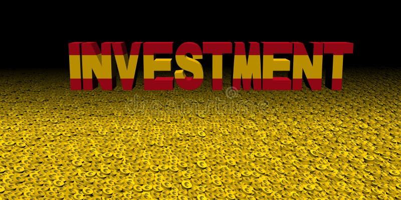 Texte d'investissement avec le drapeau espagnol sur l'illustration de pièces de monnaie illustration libre de droits