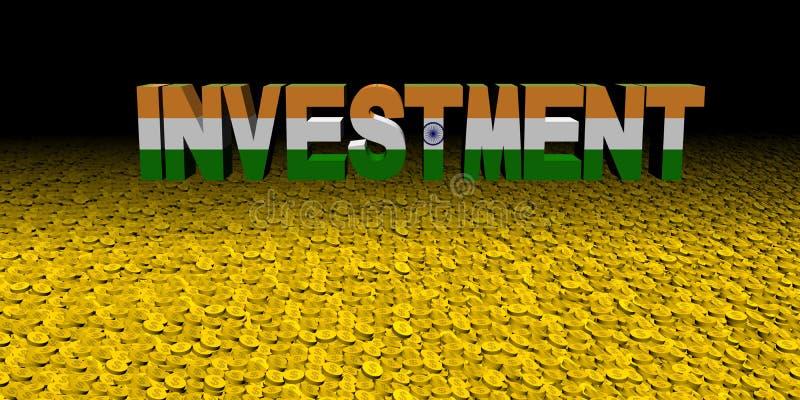Texte d'investissement avec le drapeau indien sur l'illustration de pièces de monnaie illustration de vecteur