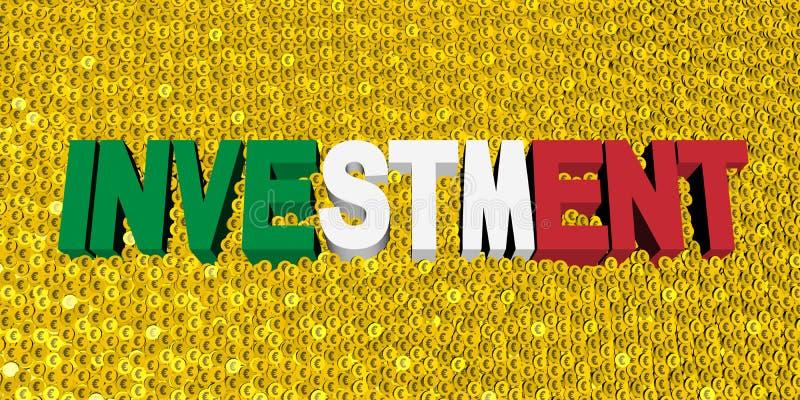 Texte d'investissement avec le drapeau italien sur l'illustration de pièces de monnaie illustration libre de droits