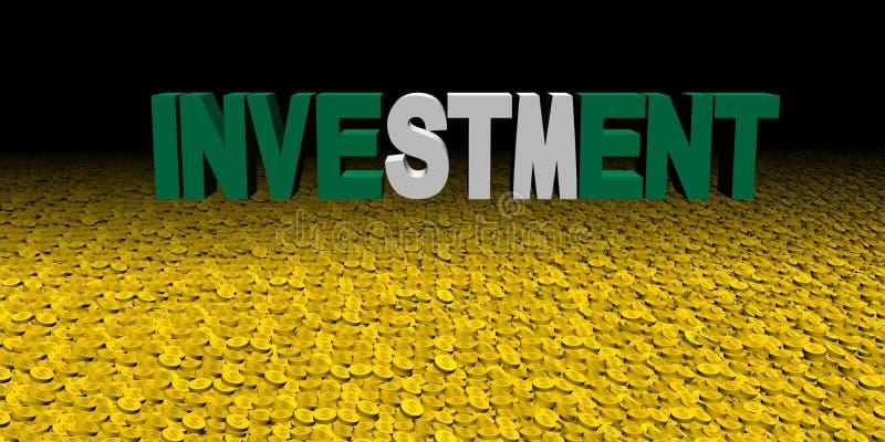 Texte d'investissement avec le drapeau nigérien avec l'illustration de pièces de monnaie illustration libre de droits