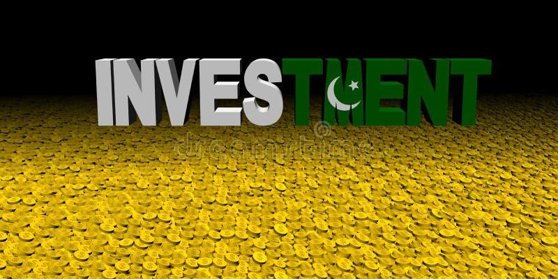 Texte d'investissement avec le drapeau pakistanais sur l'illustration de pièces de monnaie illustration de vecteur