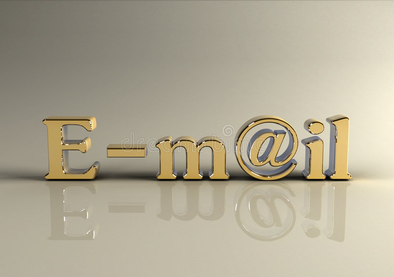 Texte d'or Photorealistic de l'email 3d photo libre de droits