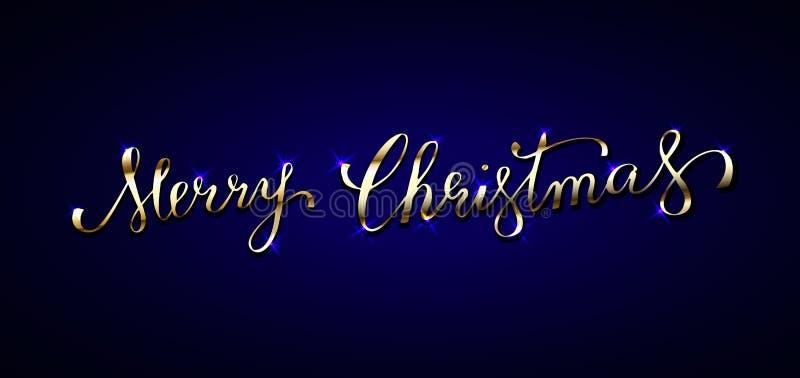 Texte d'or sur le fond bleu-foncé Joyeux Noël marquant avec des lettres f illustration stock