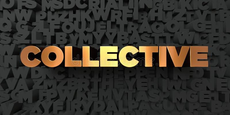 - Texte d'or sur le fond noir - 3D collectif a rendu la photo courante gratuite de redevance illustration de vecteur