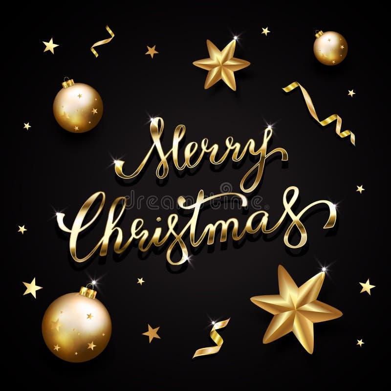 Texte d'or sur le fond noir Lettrage de Joyeux Noël pour I illustration stock