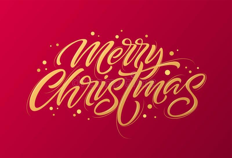 Texte d'or sur le fond rouge foncé Lettrage de Joyeux Noël et de bonne année pour la carte de voeux d'invitation et illustration libre de droits