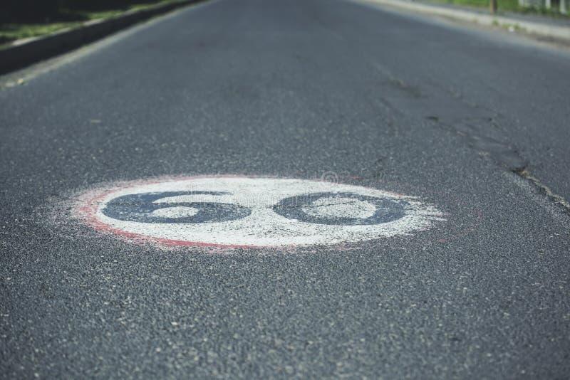 texte 60 dans la route photos stock