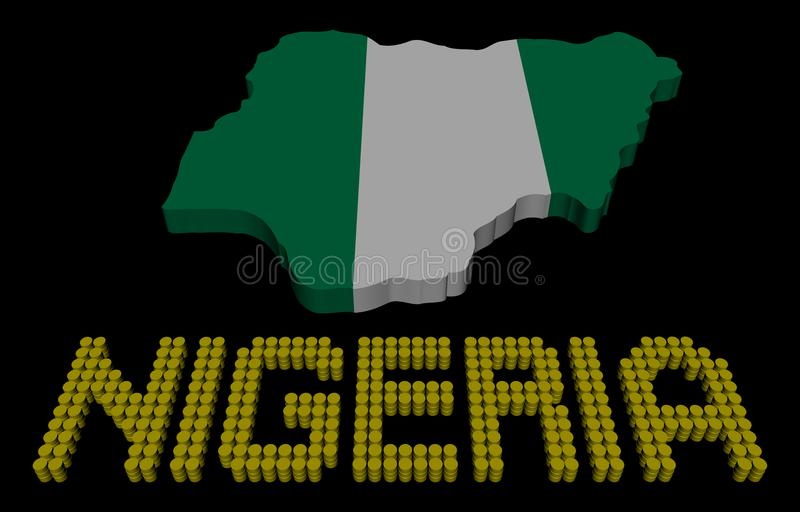 Texte de baril du Nigéria avec l'illustration de drapeau de carte illustration libre de droits