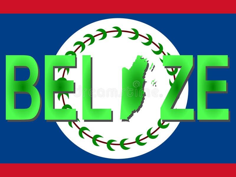 Texte de Belize avec la carte illustration de vecteur
