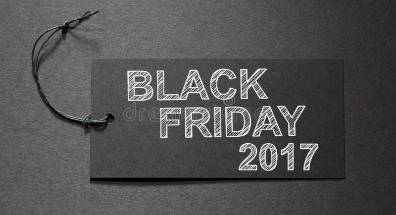Texte de Black Friday 2017 sur une étiquette noire image stock