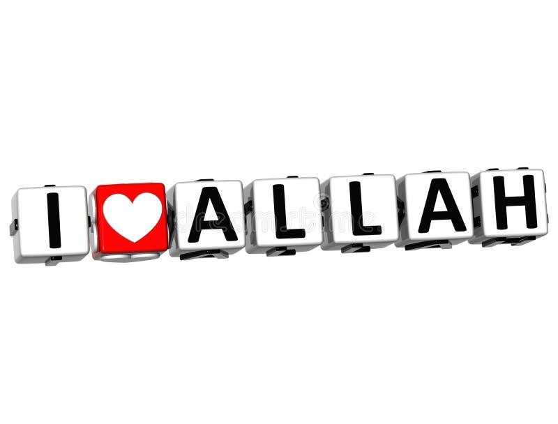 texte de bloc de cliquez ici de bouton d'Allah d'amour de 3D I illustration libre de droits