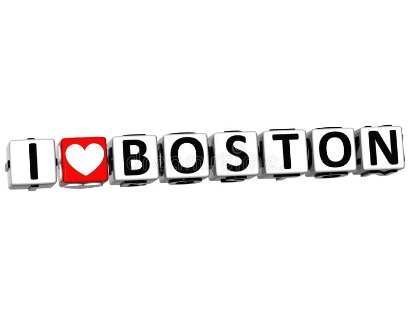 texte de bloc de cliquez ici de bouton de Boston d'amour de 3D I illustration libre de droits