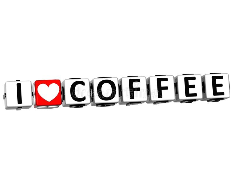 texte de bloc de cliquez ici de bouton de café d'amour de 3D I illustration de vecteur