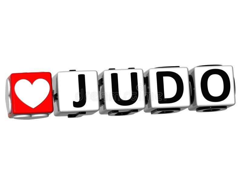 texte de bloc de cliquez ici de bouton de judo de l'amour 3D illustration libre de droits