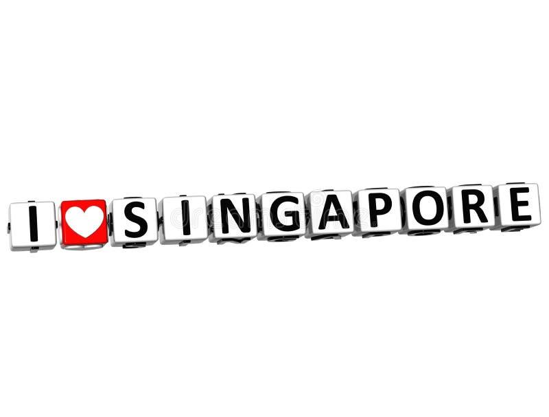 texte de bloc de cliquez ici de bouton de Singapour d'amour de 3D I illustration libre de droits