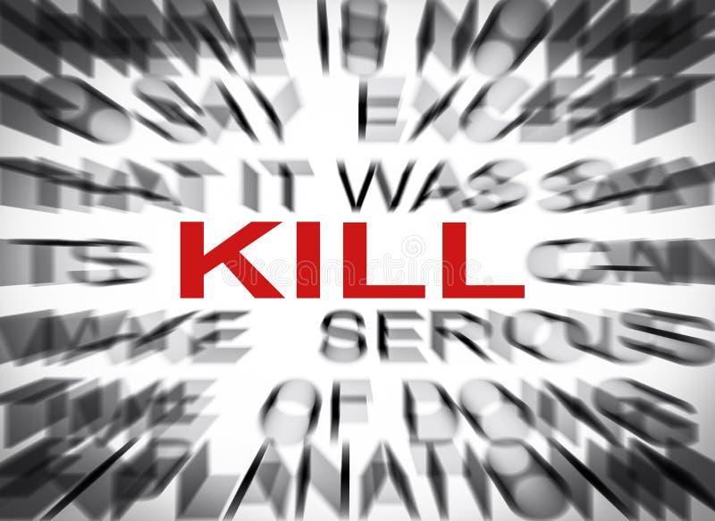 Texte de Blured avec le foyer sur la MISE À MORT image libre de droits