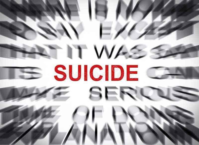 Texte de Blured avec le foyer sur le SUICIDE images libres de droits