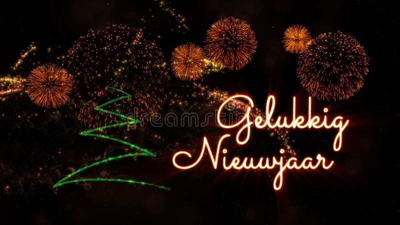 """Texte de bonne année dans le Néerlandais """"Gelukkig Nieuwjaar"""" au-dessus de pin et de feux d'artifice photo libre de droits"""