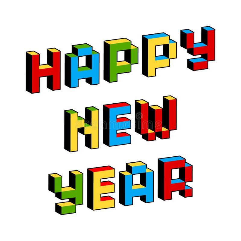 Texte de bonne année dans le style de vieux jeux vidéo à 8 bits Lettres colorées vibrantes du pixel 3D Affiche créative, insecte illustration de vecteur