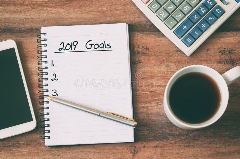 texte de 2019 buts sur le bloc-notes photographie stock libre de droits