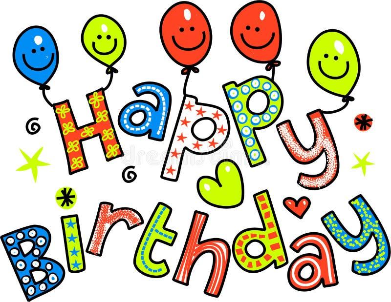 Texte de célébration de joyeux anniversaire illustration libre de droits