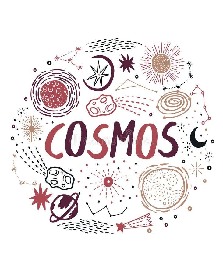 Texte de carte d'inspiration - croquis de cosmos tiré par la main avec l'espace, étoile, nuage, le soleil, lune, comète Gribouill illustration libre de droits