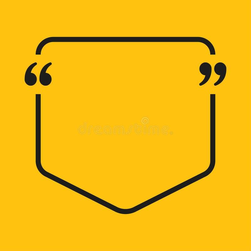 Texte de citation de bulle de la parole de vecteur bride illustration de vecteur