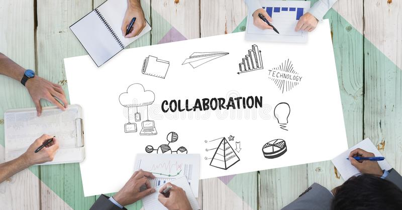 Texte de collaboration avec des icônes et des gens d'affaires de mains du ` s illustration stock