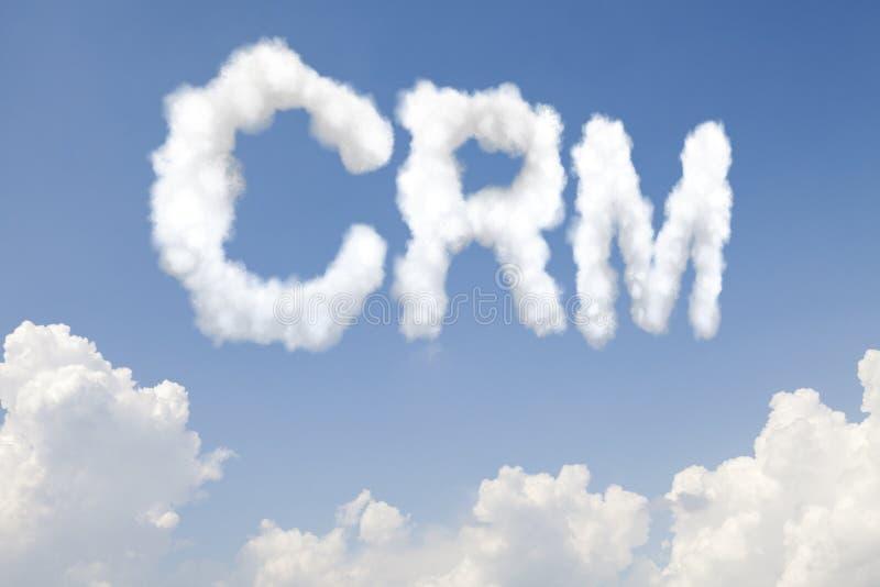 Texte de concept de CRM en nuages photo stock