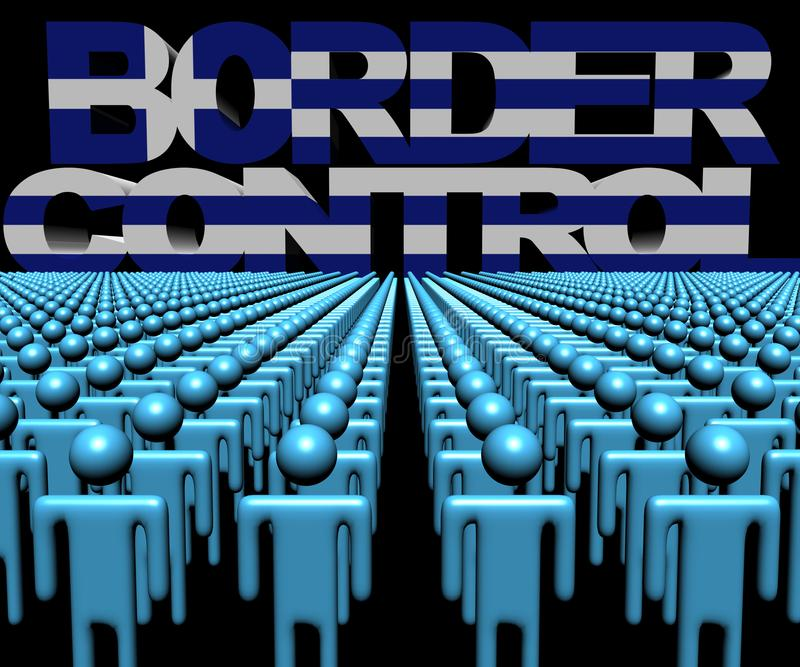 Texte de contrôle aux frontières avec le drapeau grec et foule d'illustration de personnes illustration libre de droits